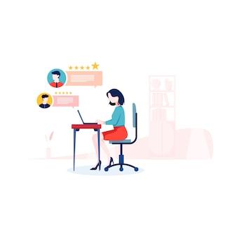 Illustrazione della recensione del cliente in stile piano