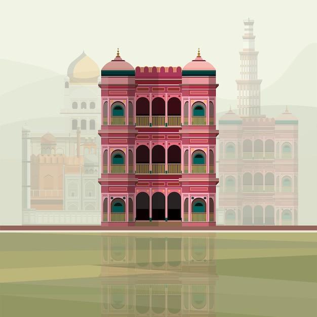 Illustrazione della residenza colorata edificio in india