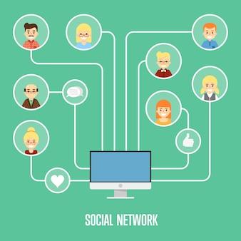 Illustrazione della rete sociale con persone collegate