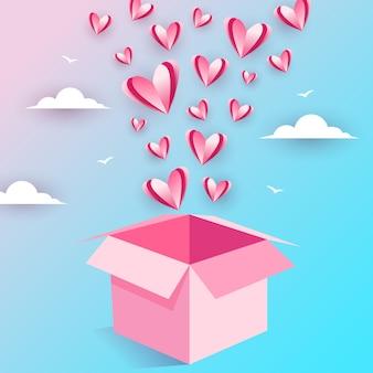 Illustrazione della scatola aperta di amore volante