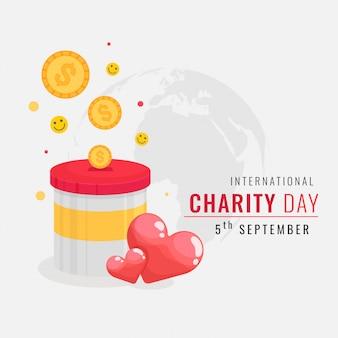 Illustrazione della scatola di donazione dei soldi con le palle e i cuori di smiley. giornata internazionale della carità
