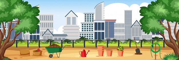 Illustrazione della scena con edifici e parco cittadino