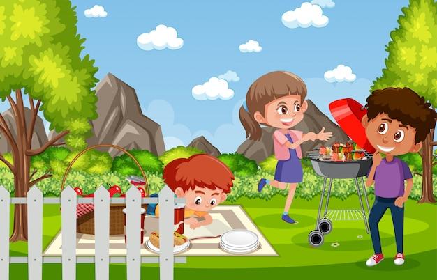 Illustrazione della scena con i bambini che mangiano nel parco
