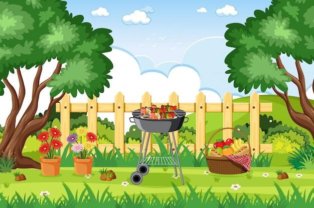 Illustrazione della scena con il barbecue nel parco