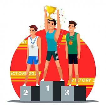 Illustrazione della scena della cerimonia di premiazione dei vincitori, vincitore con la coppa d'oro e la medaglia d'argento e di bronzo sul podio