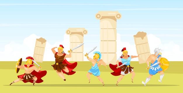 Illustrazione della scena di battaglia. i gladiatori combattono. uomo con spade e scudo. colonne e rovine di pilastri. combattente con le armi. esercito spartano. mitologia greca. personaggi dei cartoni animati di guerrieri
