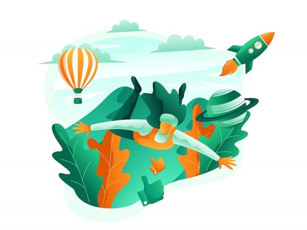 Illustrazione della scena turistica di un'immersione subacquea della donna