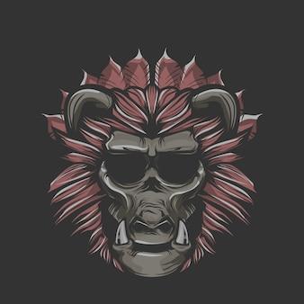 Illustrazione della scimmia con cinghiale zanne