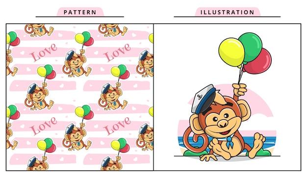 Illustrazione della scimmia sveglia che porta il costume del marinaio e che tiene ballon con il modello senza cuciture decorativo