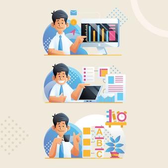 Illustrazione della serie di caratteri maschii con un legame in una presentazione
