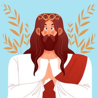 Illustrazione della settimana santa con gesù cristo