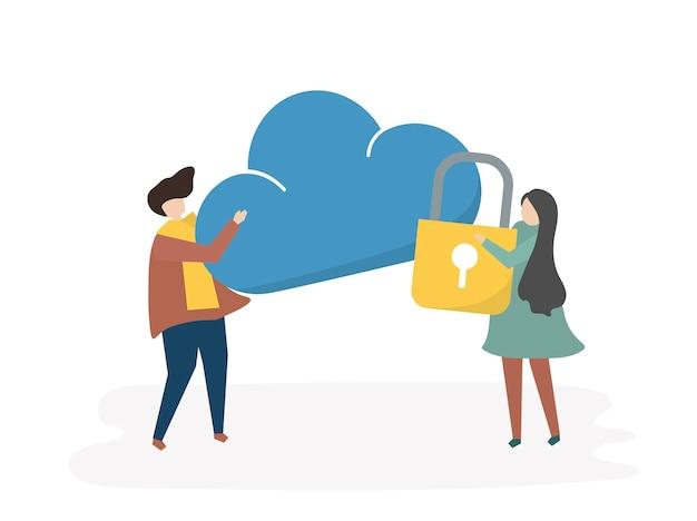 Illustrazione della sicurezza dei dati del computer