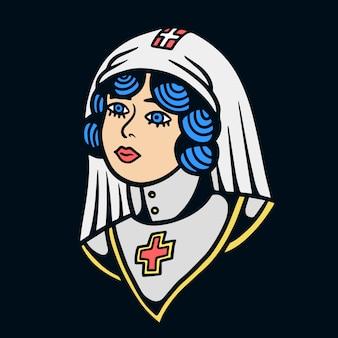 Illustrazione della sorella di vecchia scuola del tatuaggio della chiesa
