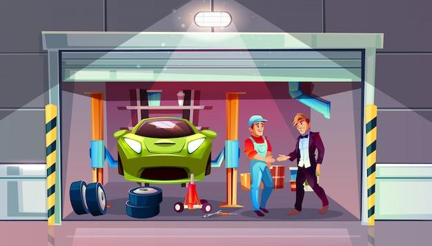 Illustrazione della sostituzione del cambio della gomma del garage dell'automobile. meccanico e cliente si stringono la mano