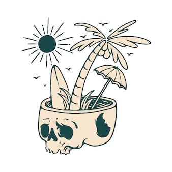 Illustrazione della spiaggia di estate di festa del cranio