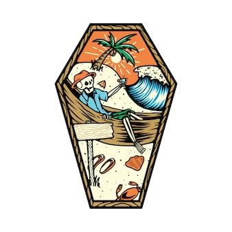 Illustrazione della spiaggia di estate di morte di scheletro del cranio