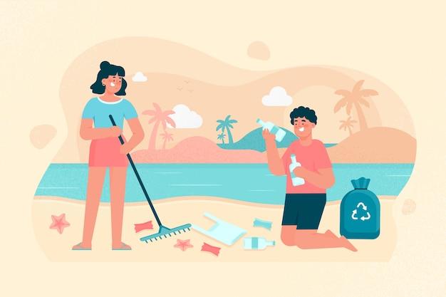 Illustrazione della spiaggia di pulizia dell'uomo e della donna