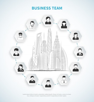 Illustrazione della squadra di affari