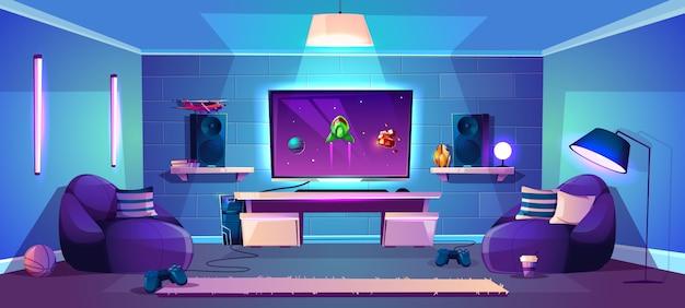 Illustrazione della stanza del gioco di vettore, concetto moderno di esports