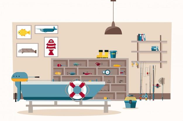 Illustrazione della stanza di fishermans, attrezzatura da pesca, ganci, canna da pesca e filatura. ci barca con motore nel banner della stanza