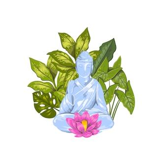 Illustrazione della statua del buddha seduto con loto e foglie tropicali
