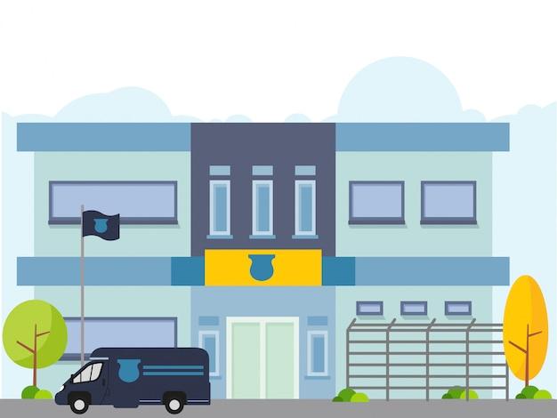 Illustrazione della stazione di polizia con il volante della polizia in stile piano