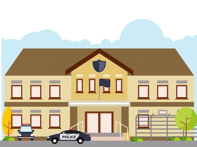Illustrazione della stazione di polizia isolata su fondo bianco