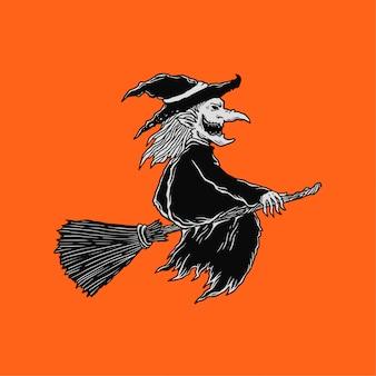 Illustrazione della strega volante