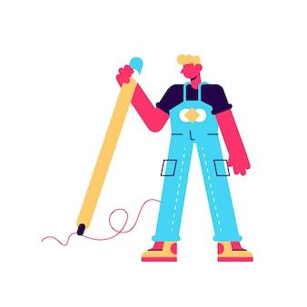 Illustrazione della stretta dell'uomo grande matita e drawingg. mano che scrive prosess. ragazzo creativo. carattere umano su sfondo bianco isolato. design moderno in stile piatto per pagina web, social media, poster