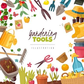 Illustrazione della struttura degli strumenti di giardinaggio.