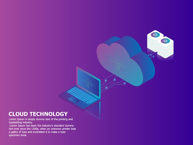 Illustrazione della tecnologia di cloud computing con sfondo vettoriale isometrica di laptop