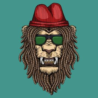 Illustrazione della testa dei dreadlocks del leone