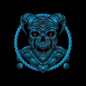Illustrazione della testa del cranio dei corni del demone