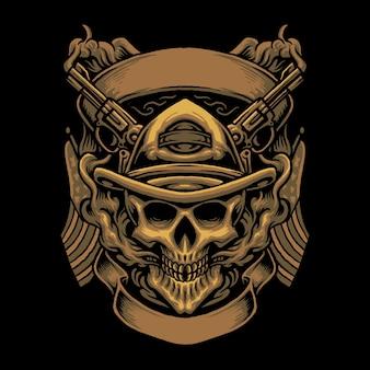Illustrazione della testa del cranio del cowboy