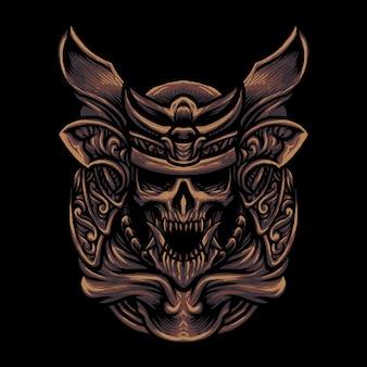 Illustrazione della testa del cranio del samurai del cranio