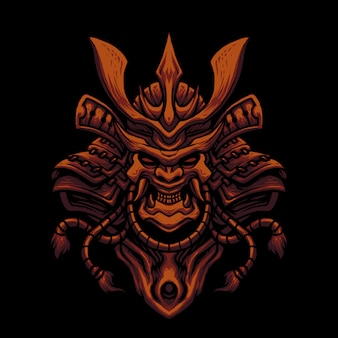 Illustrazione della testa del cranio della maschera del samurai
