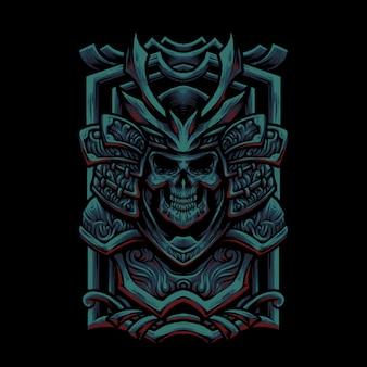 Illustrazione della testa del cranio di oni samurai
