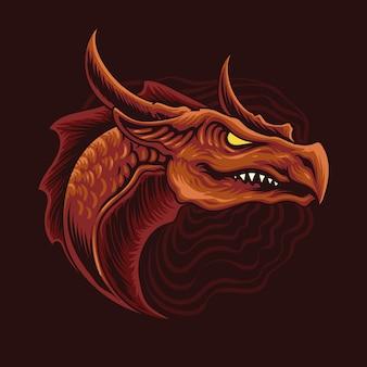 Illustrazione della testa del drago rosso