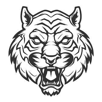 Illustrazione della testa della tigre su fondo bianco. immagini per, etichetta, emblema. illustrazione.
