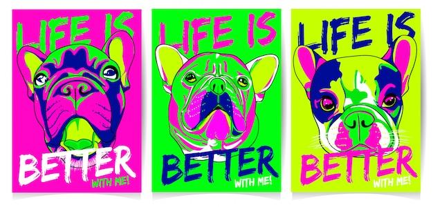 Illustrazione della testa di cane con, la vita è migliore con me, set di slogan