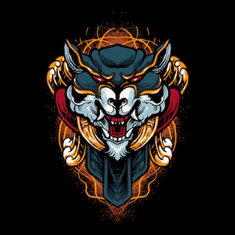 Illustrazione della testa di lupo