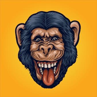 Illustrazione della testa di scimpanzé