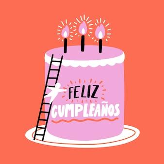 Illustrazione della torta di compleanno lettering