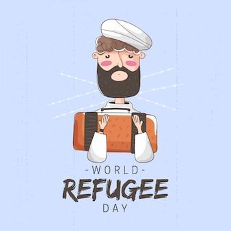 Illustrazione della valigia della tenuta dell'uomo per il giorno del rifugiato del mondo