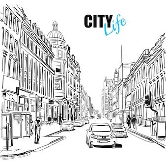 Illustrazione della via della città di schizzo