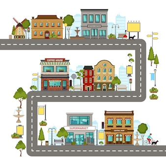 Illustrazione della via della città