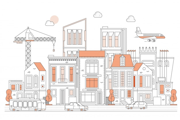 Illustrazione della via urbana del paesaggio con le automobili