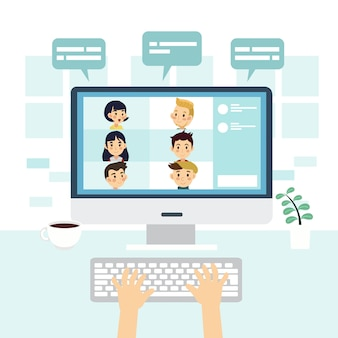 Illustrazione della videoconferenza, utilizzando il computer per la videoconferenza di gruppo. chattare con gli amici online. lavoro a distanza, concetto di tecnologia.