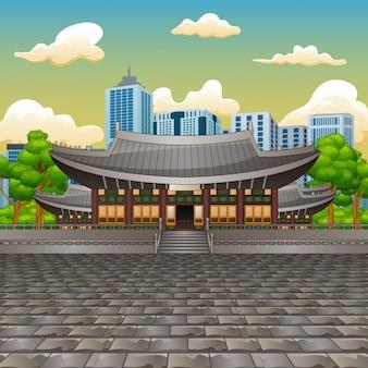 Illustrazione della vista del palazzo deoksugung con sfondo alto edificio