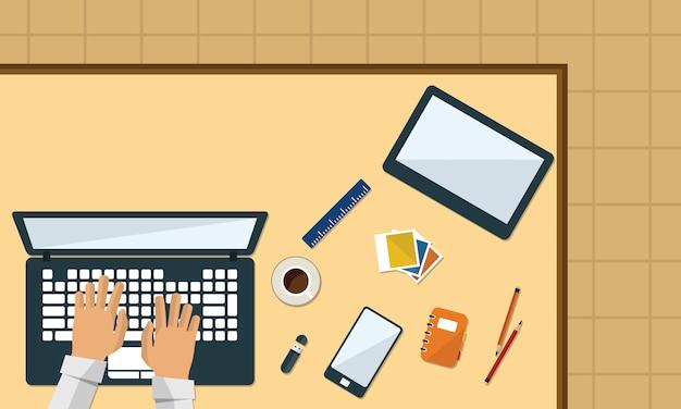 Illustrazione della vista superiore di progettazione piana di affari del computer della tabella dell'area di lavoro di ufficio. spazio libero testo